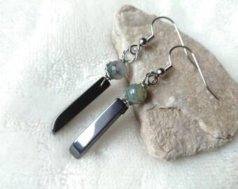 Earrings - Hematite Crystal Earrings - Beaded Dangle Earrings - Wire Wrapped - Boho Style Earrings - Boho Jewelry - Silver & Green