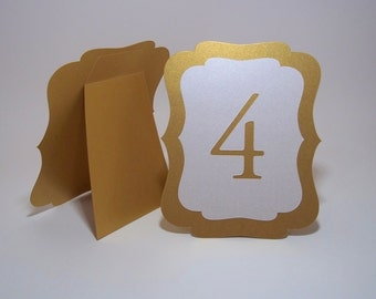 Gold and Ivory Shimmer Wedding Table Numbers  - Free-standing - Cut Out - Gold table numbers - Table markers