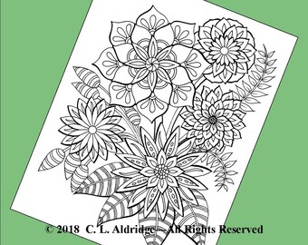 Fabulous Flowers 1 - A Garden of Fantasy Wildflowers, Coloring Page, Original Unique Art, Adult Coloring, Printable - Instant Download PDF