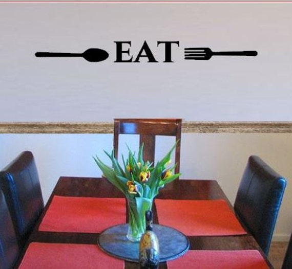 Kitchen Wall Decor Fork And Spoon: Eat Kitchen Vinyl Wall Decal Fork And Spoon Kitchen Wall