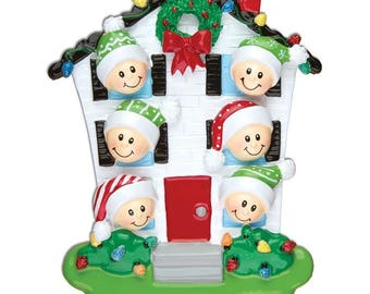 House Family of 6 Personalized Christmas Ornaments - Personalized With Names