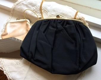 Vintage Ingber Black Silk Faille Evening Bag