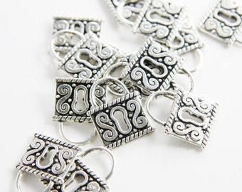 18pcs Oxidized Silver Tone Base Metal Charms-Lock 18x15mm (1723X-C-116)