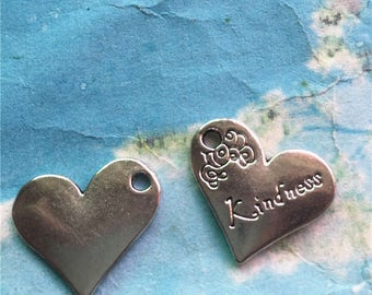 Heavy and Strong 15 pieces 20x18mm antiqued silver with the word Kindness heart charms findings