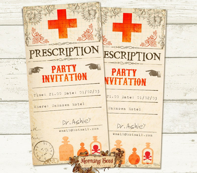 Printable Invitations Prescription invitation Halloween party