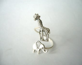 silver elephant giraffe ring wrap style, adjustable ring, animal ring, silver ring, statement ring