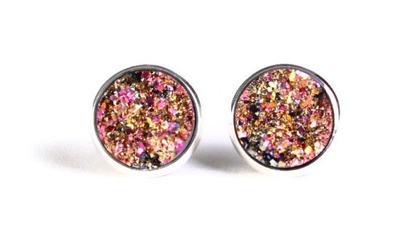 Gold and pink textured stud earrings - Faux Druzy earrings - Textured earrings - Post earrings - Nickel free earrings (785)