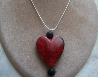 Blood Red Heart Pendant with Natural Black Volcanic Lava Rock Beads Pendant Necklace on a Sterling Silver Snake Chain, by Brendas Beading
