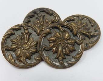 Four old buttons 19th century, diameter 2.8 cm, free shipping!