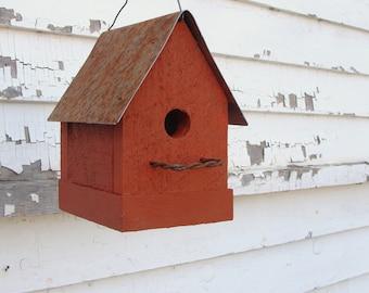 Rustic Orange Birdhouse Outdoor Bird House Garden Birdhouses Functional Birdhouses