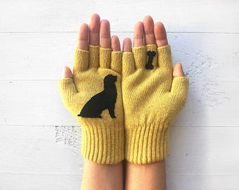 Dog Gloves, Year Of The Dog, Inspirational Gift, Dog Lover Gift, Chinese New Year, Dog Gloves, Fingerless Gloves, Pet Lover Gift, Mom Gift