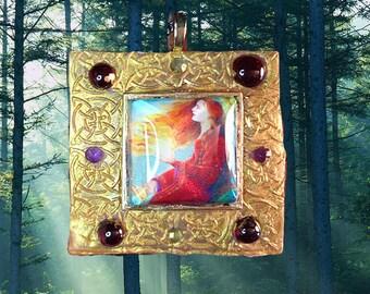 Celtic Goddess Saint Brigid's Fire Pendant Necklace