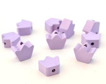 1 Crown purple wooden bead