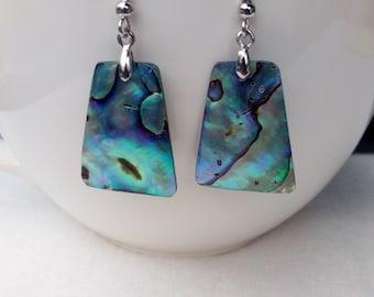 Mother of Pearl shell earrings triangle shaped paua abalone