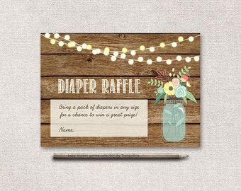 Rustic Diaper Raffle Ticket Printable, Boy Baby Shower Diaper Raffle Mason Jar Diaper Raffle Card, Printable Diaper Raffle Rustic Shower