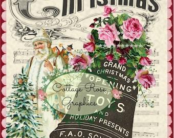 Vintage Grand Christmas Santa toys pink roses Large digital download Printable ECS buy 3 get one free