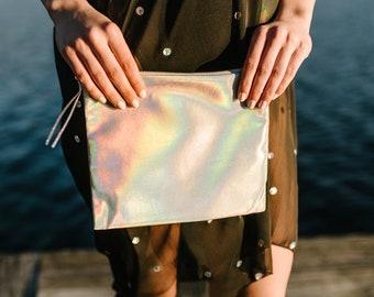 Holographic Bag Cosmetic Bag Make Up Bag Medium Zipper Bag Evening Clutch Iridescent Bag Holographic Pencil Case