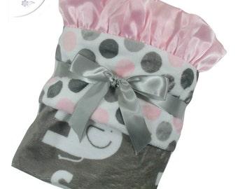 Pink and Gray Polka Dot Elephant Minky Baby Blanket, Pink and Gray Mod Dot Minky baby Blanket