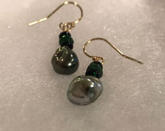 Cultured Tahitian Keshi Pearl Earrings, Black Opal, Tsavorite, 14k Yellow Gold