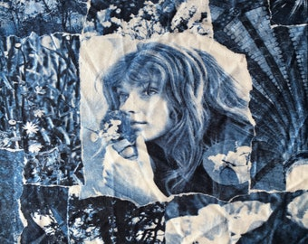 Amazing 70s photo print fabric moody blue birds garden sculptures women nylon polyester look wide 2 yards available