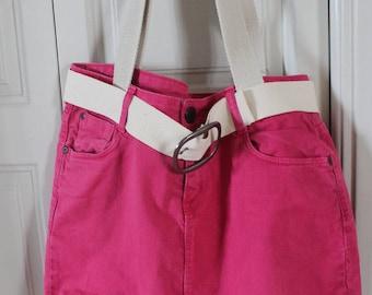 Pink denim bag