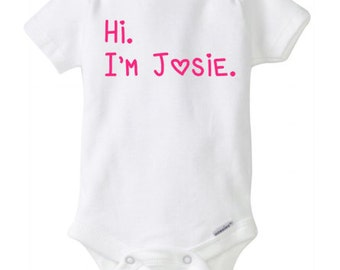 Hi I'm new coming home outfit baby announcement onesie shower gift birth announcement outfit baby