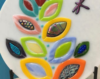 "Fused Glass Art Panel ~ Fantasy RAINBOW PLANT Dichroic Glass Leaves and Dragonfly~ 11"" Round ~ Includes Metal Stand, Handmade"