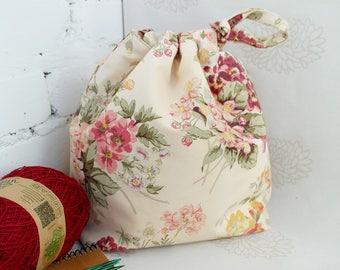 Floral knitting bag, Knitting project bag, Yarn storage bag, Medium drawstring knitting bag, Craft Bag, Sock progect bag, Knitters gift