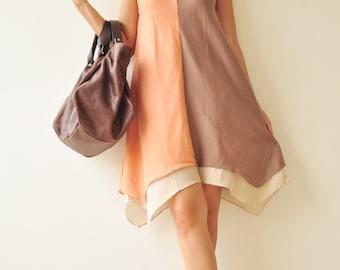 Two tone part II.... Cream-Orange Cotton Dress