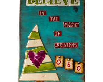Christmas Countdown, wooden advent calendar, Believe in the Magic of Christmas, Holiday Decor, Christmas Tree, Quotes, KCDESIGNZ