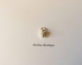 Pinecone charm 9mm 925 sterling silver