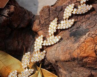 Gold Leaves Bridal Belt  Bridesmaid belt Gold Skinny Wedding Belt Gold Leaf Belt Thin bridal belt Crystal Rhinestone belt