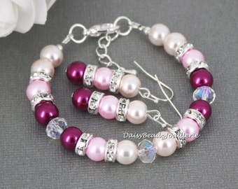 Magenta and Mauve Pearl Bridesmaid Gift Wedding Jewelry for Her Pink Jewelry