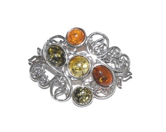 sterling silver brooch with natural Baltic amber