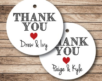 20 Personalized Thank You Tags, Thank You Heart Tags (np)