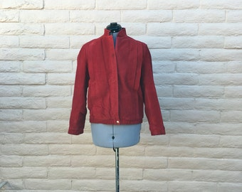Vintage Red Suede Leather 80s Micheal Jackson Style Jacket Sz 10
