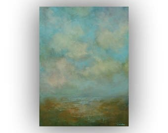 Small Abstract Landscape, Blue and Green, Original Palette Knife Oil Painting, 12 x 16 Sky Clouds and Field Art on Canvas