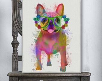 Bulldog gift idea -  French bulldog full Print - Canvas art poster Large art print Colorful painting Cute teen girl gift Family room wall