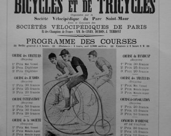 SALE Vintage Bicycle Race Poster French Advertisement Black and White Poster Size Book Plate