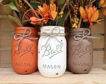 Pick 3! Hand Painted Mason Jars, Autumn, Home Decor, Fall Decor, Thanksgiving, Centerpiece, Fall Wedding, Farmhouse, Fall, Country Decor