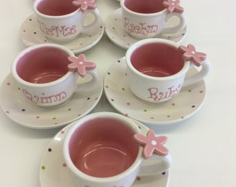 """1 Child's Personalized Tea cups and Saucers  """"sprinkles"""""""