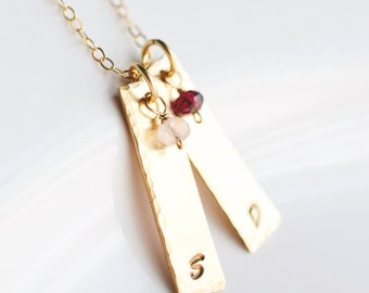 Gold Mothers Necklace - Mom Necklace with Initials - Birthstone Necklace for Mom - Gold Bar Initial Necklace - Gold Initial Necklace
