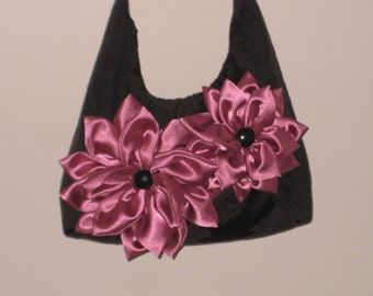 Original black purse with pink flower