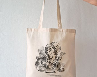 Mad Hatter Tea Party tote bag-Alice tote bag-Wonderland bag-custom tote-birthday tote bag-NATURA PICTA NPTB085