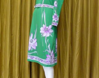 Vintage 1970s Green Floral Dress, Size 14 UK, 42 EUR, 12 US, Mad Men Dress