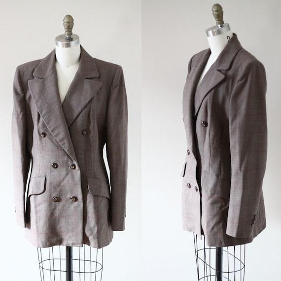 1970s brown long blazer // 1970s boyfriend blazer // vintage jacket