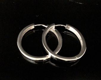 Large Huggie Hoop Earrings - 925 Sterling Silver - 25mm - Medium Sized Hinged  Hoop Earrings -- Silver Hoops