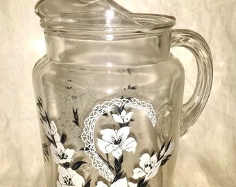 Vintage 1950's Glass Pitcher White Flowers