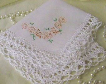 Lace Handkerchief, Mother of the Bride, Mother of the Groom, Personalized Hanky, Peach, Floral, Hand Crochet, Ready to ship