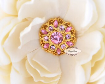 5 pcs RD154 Pink Rhinestone Gold Metal Flat Back Embellishment Buttons flowers invitations favors bouquets napkins accessories hair clips